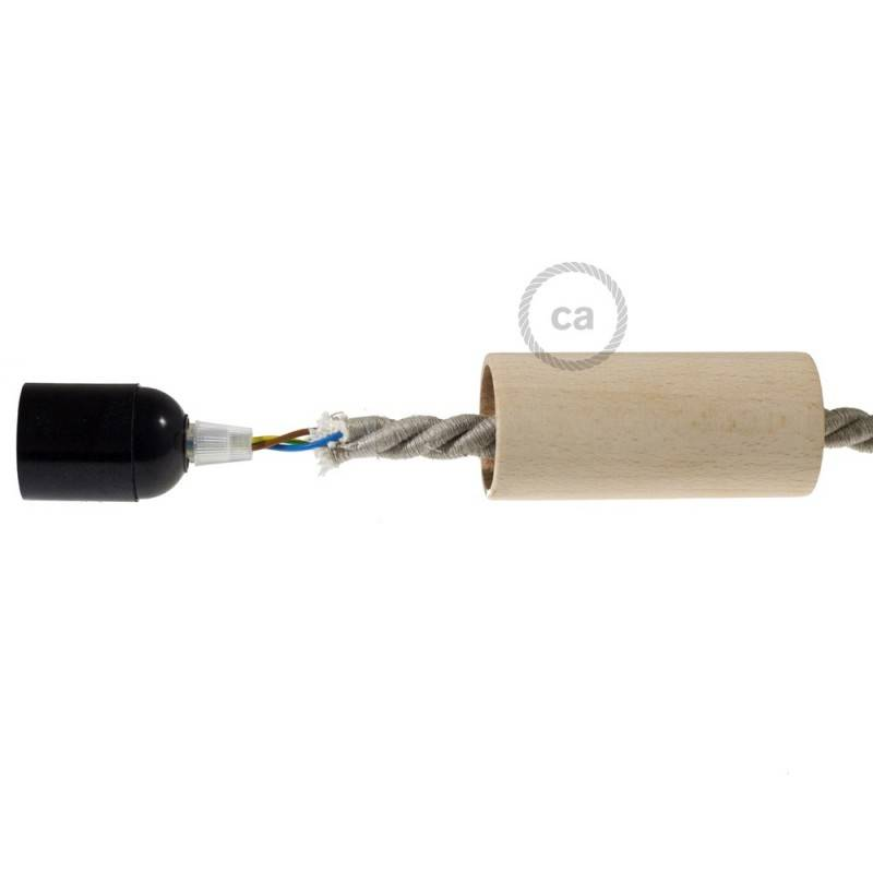 Wooden E27 lamp holder kit for XL cord