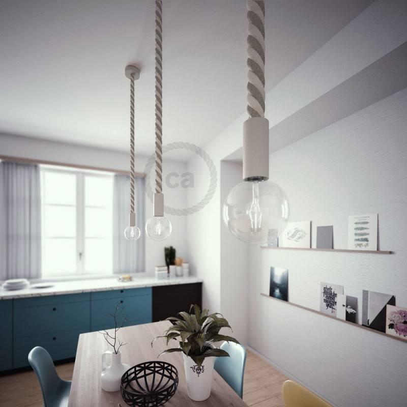 Wooden E27 lamp holder kit for 3XL cord