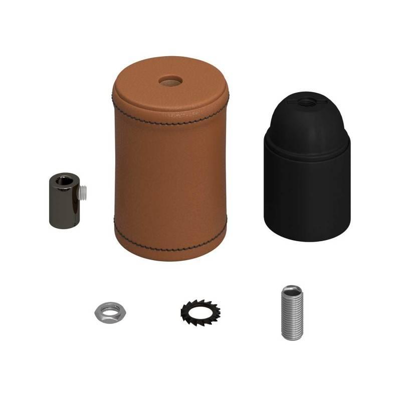 Leather covered wooden E27 lamp holder kit