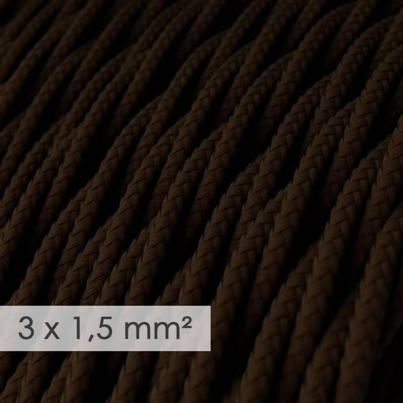 Large section electric cable 3x1,50 twisted - covered by rayon Brown TM13