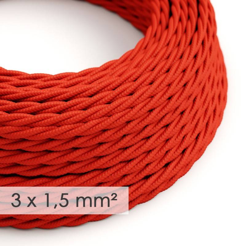 Large section electric cable 3x1,50 twisted - covered by rayon Red TM09