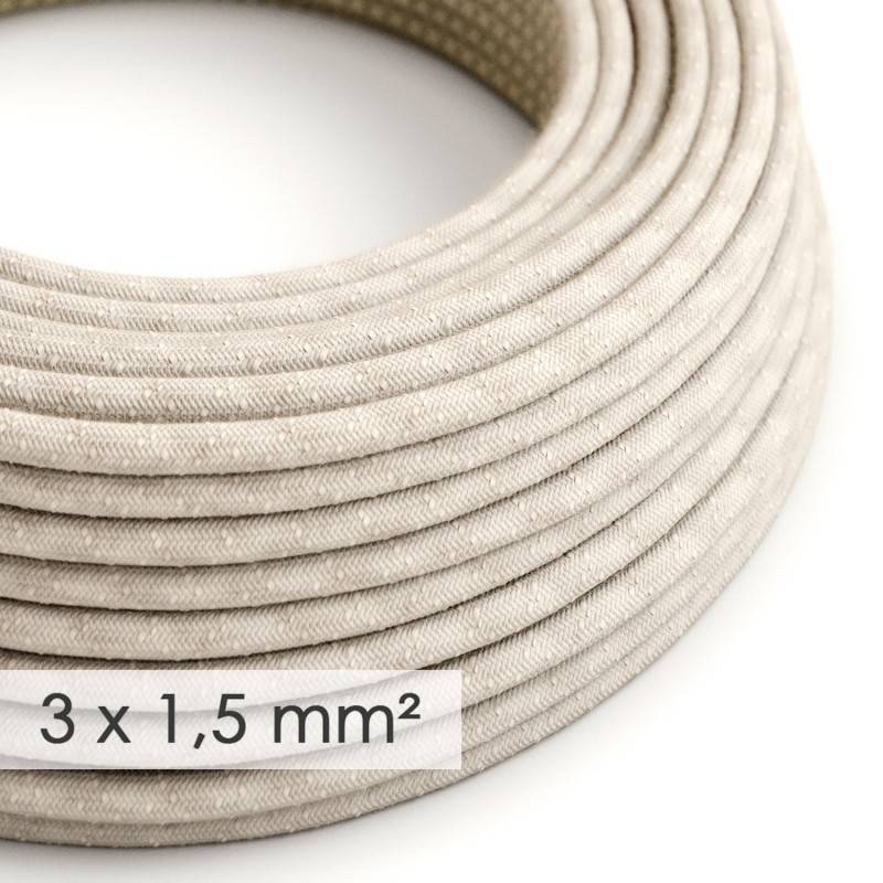 Large section electric cable 3x1,50 round - covered by Natural Neutral Linen RN01