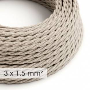 Large section electric cable 3x1,50 twisted - covered by Natural Neutral Linen TN01