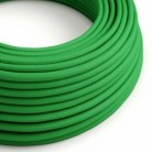 Round Electric Cable covered by Rayon solid color fabric RM06 Green