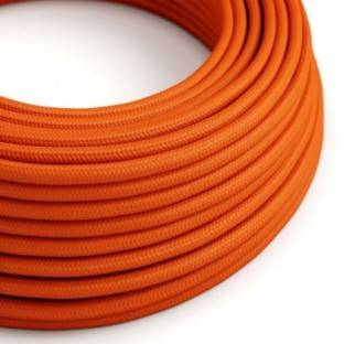 Round Electric Cable covered by Rayon solid color fabric RM15 Orange