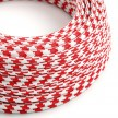 Round Electric Cable covered by Rayon fabric Bicolored RP09 Red