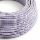 Round Electric Cable covered by Rayon fabric ZigZag RZ07 Lilac