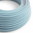 Round Electric Cable covered by Rayon fabric ZigZag RZ11 Cyan