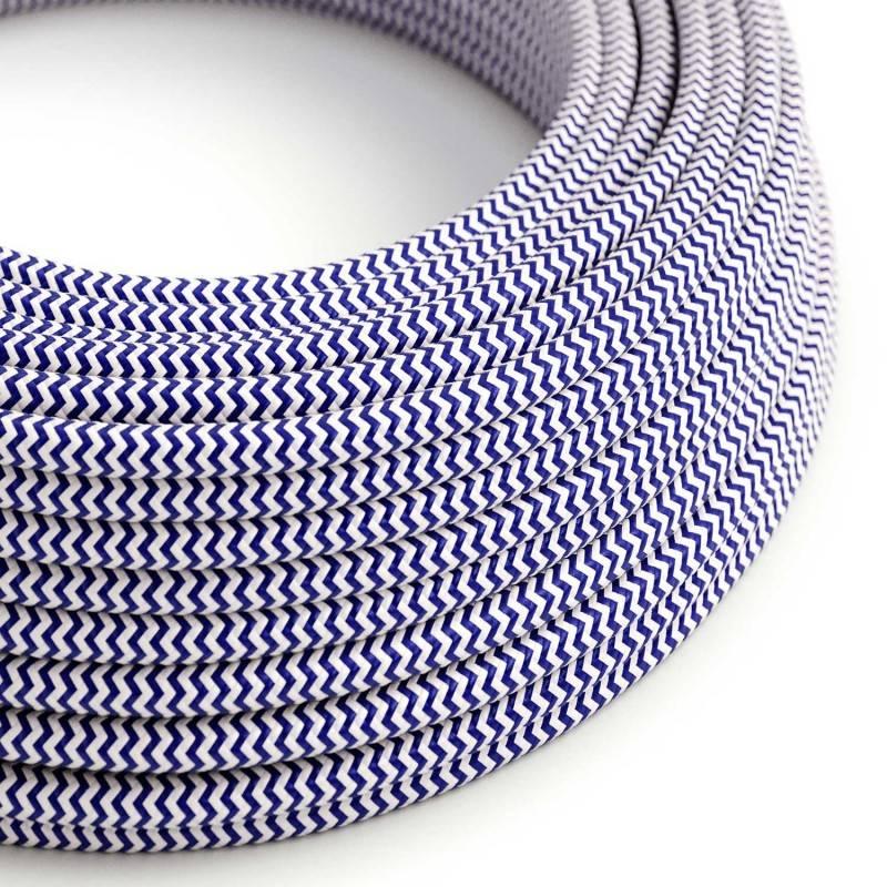 Round Electric Cable covered by Rayon fabric ZigZag RZ12 Blue