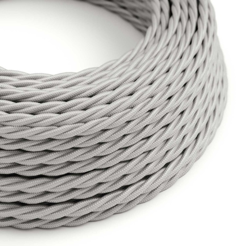 Silver Twisted Cloth Covered Electrical Wire Braided Rayon Fabric Wire