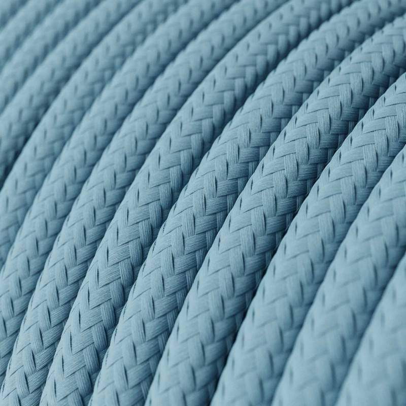 Round Electric Cable covered by Rayon solid color fabric RM17 Baby Azure