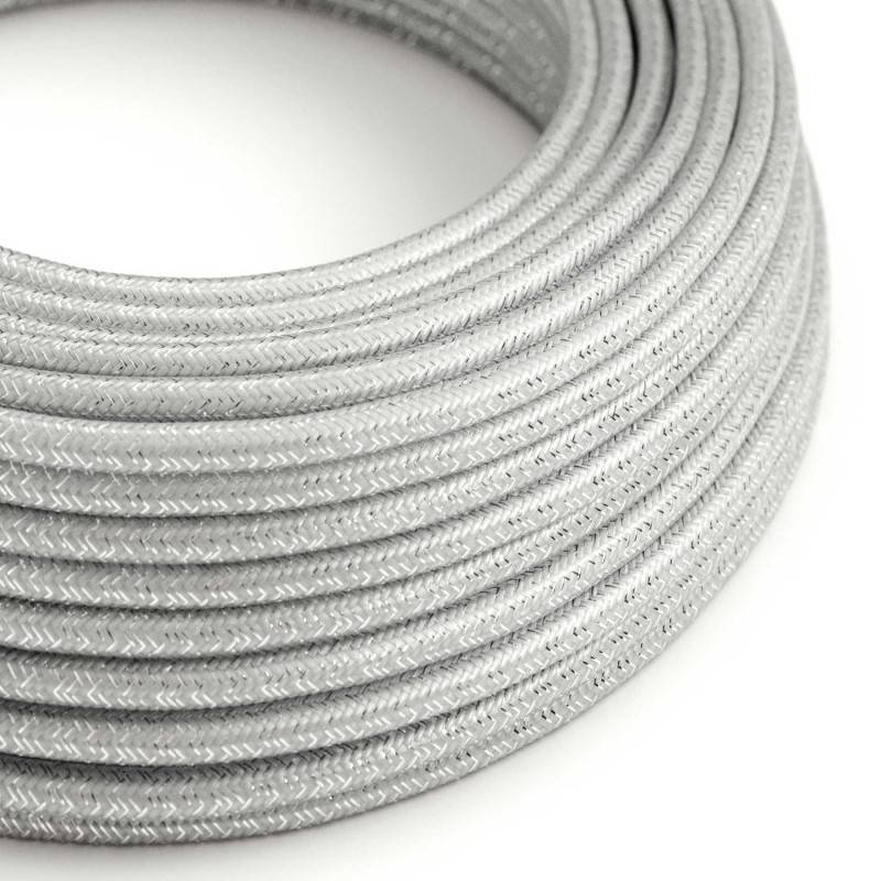 Round Glittering Electric Cable covered by Rayon solid color fabric RL02 Silver