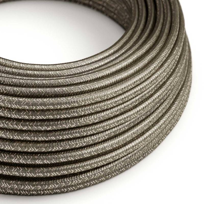 Round Glittering Electric Cable covered by Rayon solid color fabric RL03 Grey