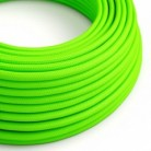 Round Electric Cable covered by Rayon solid color fabric RF06 Fluo Green