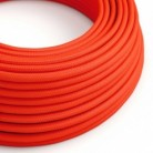 Round Electric Cable covered by Rayon solid color fabric RF15 Fluo Orange