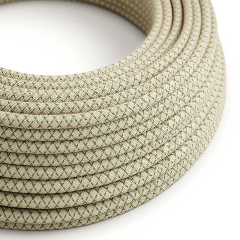 Round Electric Cable covered by Green Thyme Lozanga Cotton and Natural Linen RD62