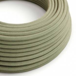 Round Electric Cable covered by Green Thyme ZigZag Cotton and Natural Linen RD72