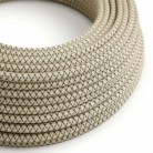 Round Electric Cable covered by Anthracite Lozanga Cotton and Natural Linen RD64