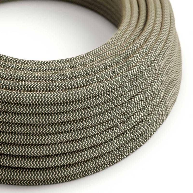 Round Electric Cable covered by Anthracite ZigZag Cotton and Natural Linen RD74