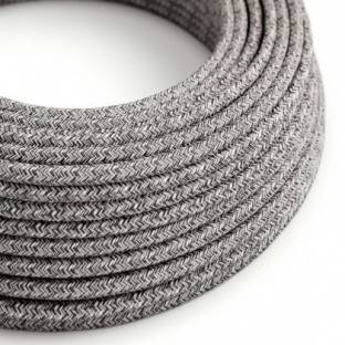 Round electric cable covered by Black Onyx Tweed Cotton, Natural Linen and finishing Glitter RS81