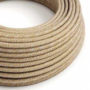 Round electric cable covered by Russet Tweed Cotton, Natural Linen and finishing Glitter RS82