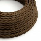 Twisted Electric Cable covered by Cotton solid color fabric TC13 Brown