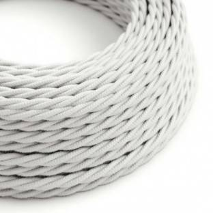 Twisted Electric Cable covered by Cotton solid color fabric TC01 White