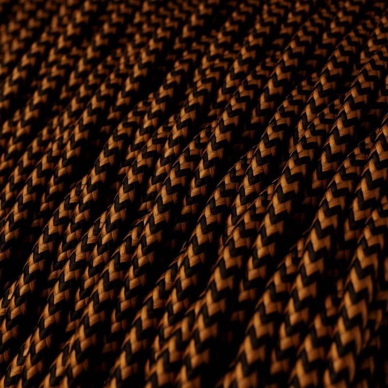 Twisted Electric Cable covered by Rayon solid color fabric TZ22 Black And Whiskey
