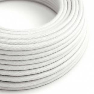 Round Electric Cable covered by Cotton solid color fabric RC01 White