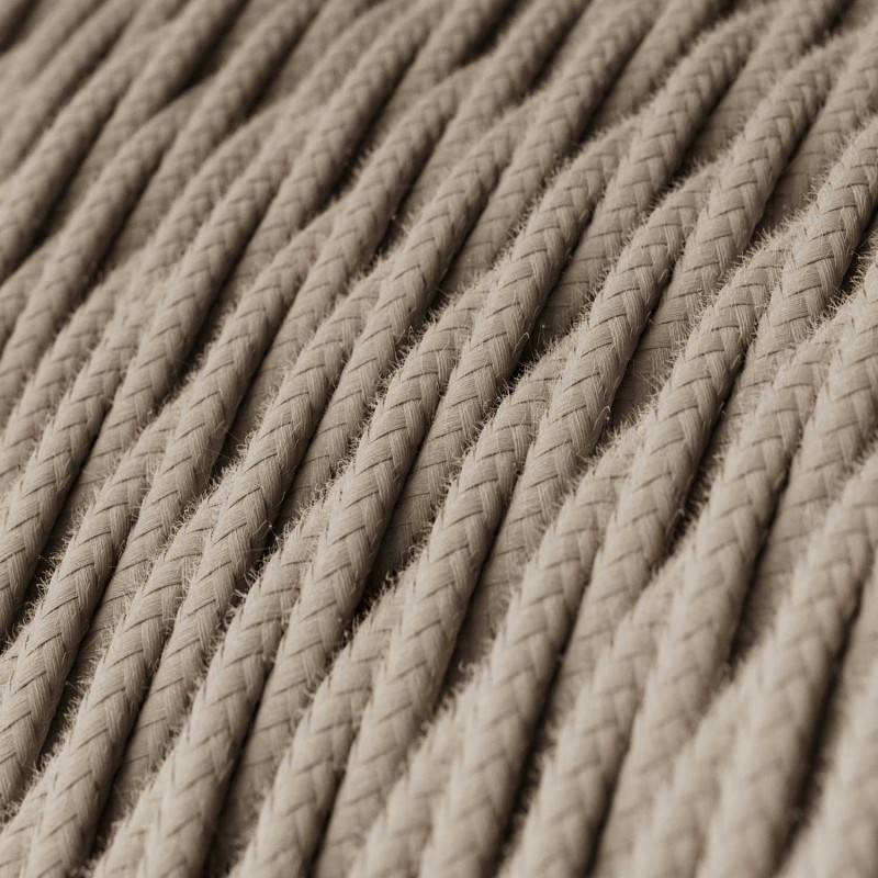 Twisted Electric Cable covered by Cotton solid color fabric TC43 Dove
