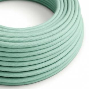 Round Electric Cable covered by cotton solid color fabric RC34 Milk and Mint
