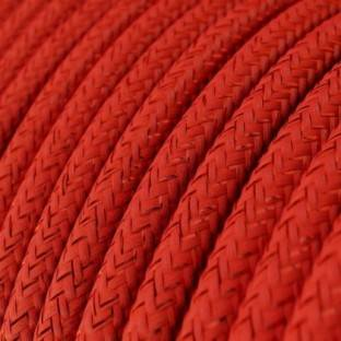 Round Glittering Electric Cable covered by Rayon solid color fabric RL09 Red