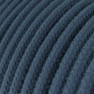 Round Electric Cable covered by Cotton solid color fabric RC30 Stone Gray