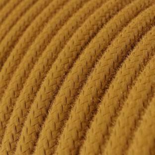 Round Electric Cable covered by Cotton solid color fabric RC31 Golden Honey