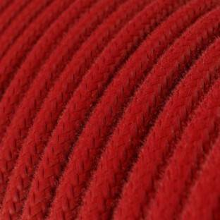 Round Electric Cable covered by Cotton solid color fabric RC35 Fire Red