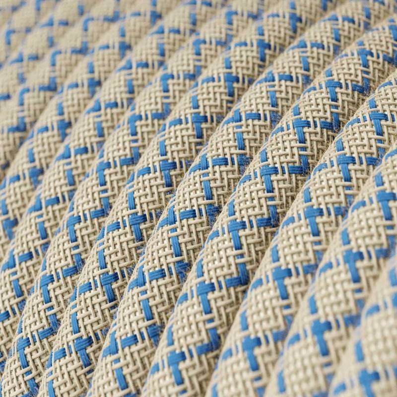 Round Electric Cable covered by Steward Blue Lozenge Cotton and Natural Linen RD65