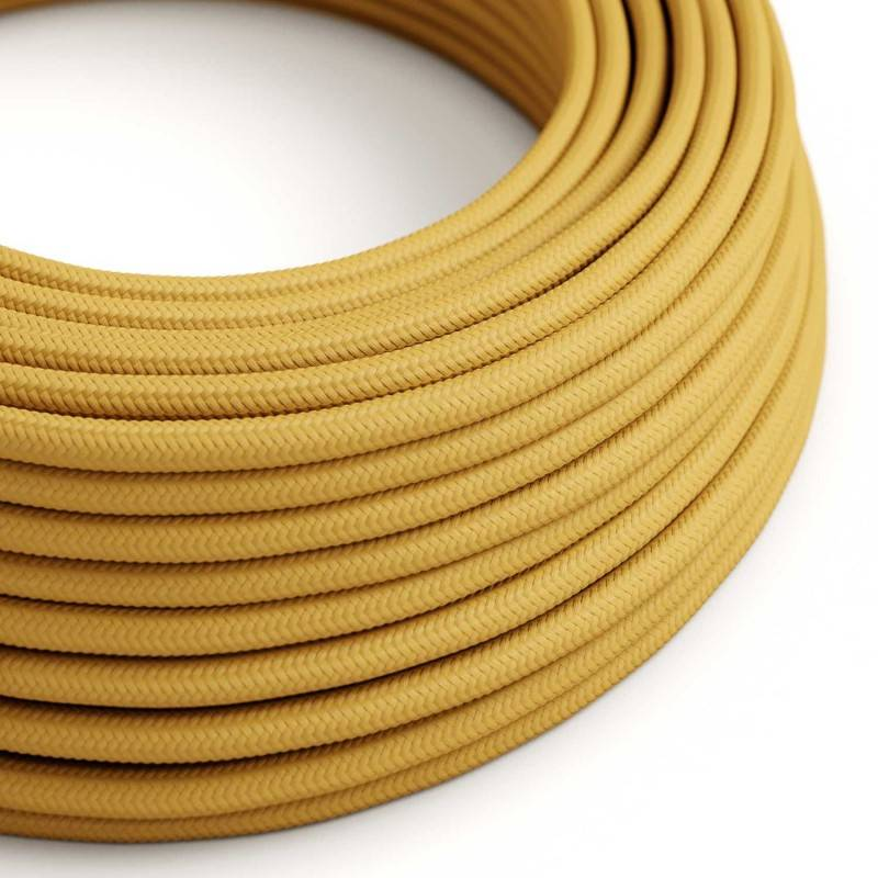 Round Electric Cable covered by Rayon solid color fabric RM25 Mustard