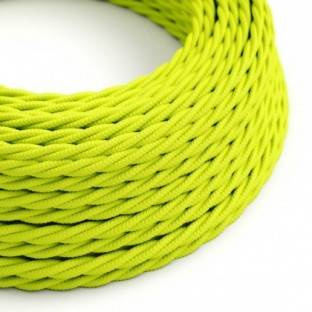 Twisted Electric Cable covered by Rayon solid color fabric TF10 Fluo Yellow