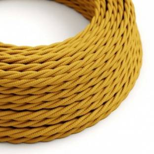 Twisted Electric Cable covered by Rayon solid color fabric TM25 Mustard