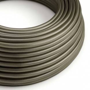 Round Electric Cable covered by Rayon solid color fabric RM26 Dark Gray