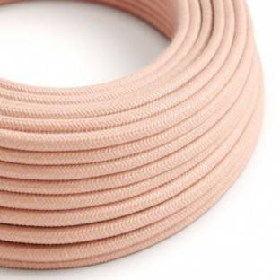 Round Electric Cable covered in Cotton - Salmon RX13