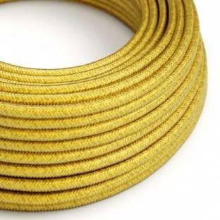 Round Electric Cable covered in Rayon solid color fabric - RM31 Lemon