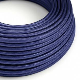 Round Electric Cable covered in Rayon solid color fabric - RM34 Sapphire