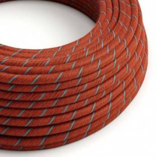 Round Electric Vertigo Cable covered by Brick and Light Blue Cotton ERC36