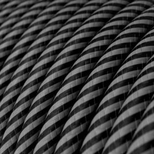 Round Electric Vertigo HD Cable covered by Graphite and Black Thin Stripes fabric ERM38