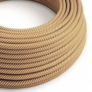Round Electric Vertigo HD Cable covered by White and Whiskey fabric ERM49