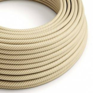 Round Electric Vertigo HD Cable covered by Cream and Nut Thin Stripes fabric ERM53