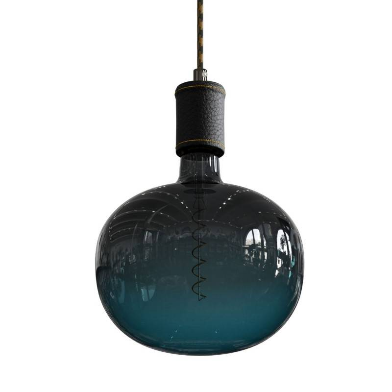 Pendant lamp with textile cable and leather details - Made in Italy - Bulb included