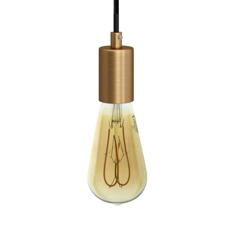 Pendant lamp with textile cable and satin metal details - Made in Italy - Bulb included