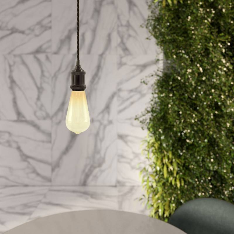 Pendant lamp with twisted textile cable and aluminium lamp holder - Made in Italy - Bulb included